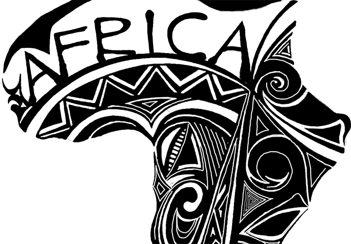Tribal style ink drawing of Africa.