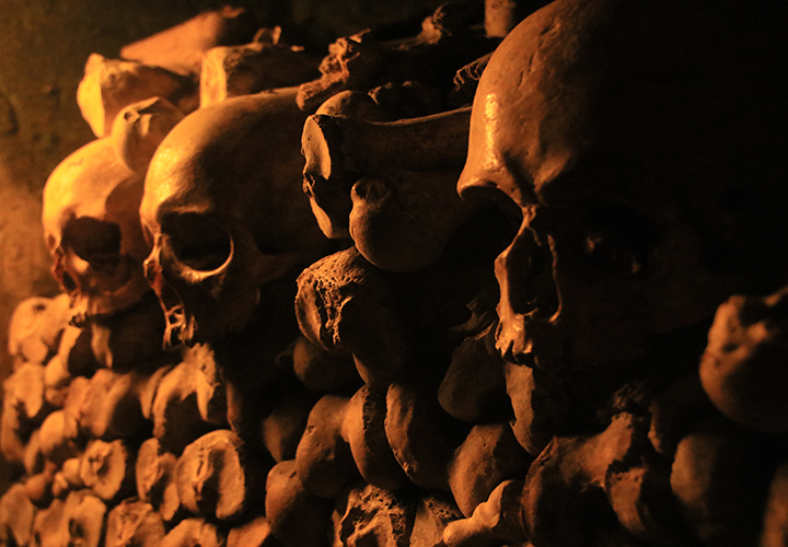 Catacombs of Paris, Paris, France. Phot by Zoe Chung, Unsplash.